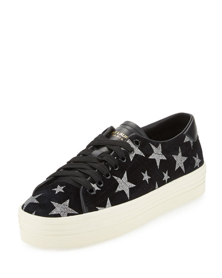 Saint Laurent Court Classic Star-Print Sneaker, Black/Platinum