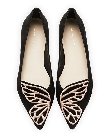 Sophia Webster Bibi Butterfly Embroidered Suede Flats