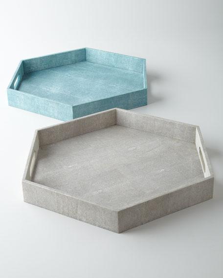 Regina-Andrew Design Ivory Faux-Shagreen Hex Tray