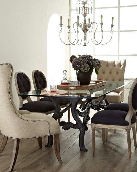 Two Black Linen Dining Chairs