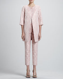 St. John Collection 3/4-Sleeve Medium-Length Jacket, Sleeveless Stretch-Silk Blouse & Jacquard Trouser Pants,