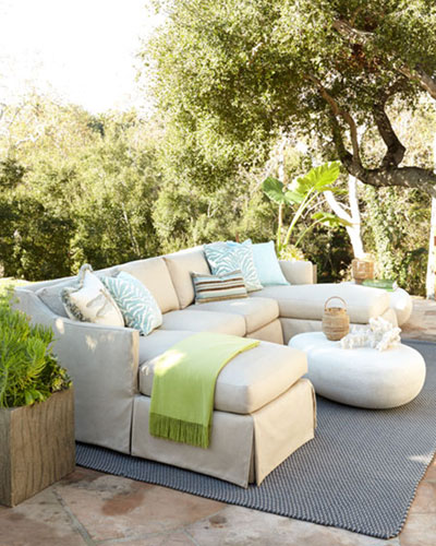 Neimanmarcus Harrison Outdoor Sectional & Armless Chair