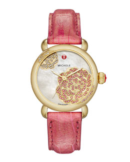 MICHELE Limited Edition CSX Jardin Gold Diamond-Dial Watch Head & 18mm Blush Alligator Strap