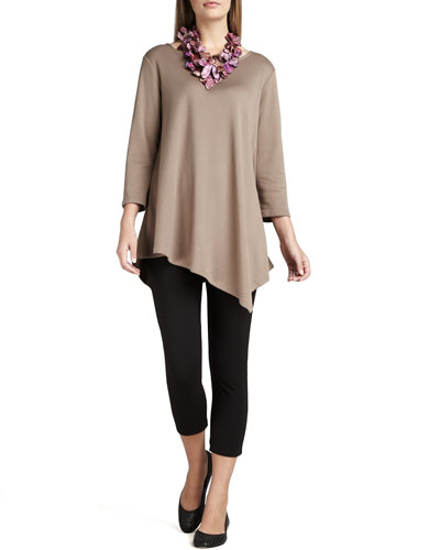 3/4-Sleeve Asymmetric Tunic & Cropped Leggings, Plus Size