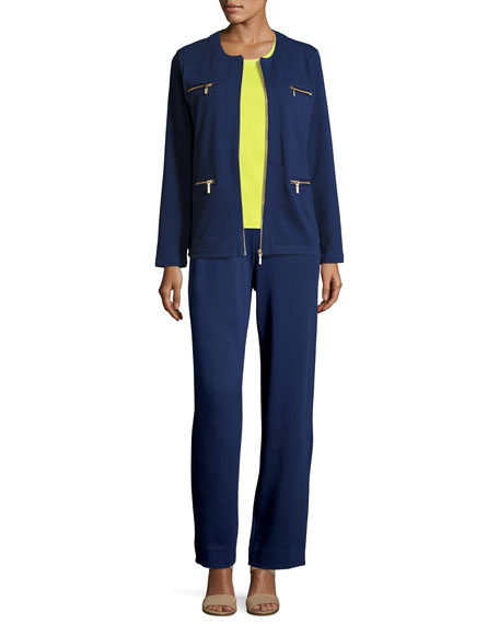 Stretch Interlock Zip-Front Jacket, Petite