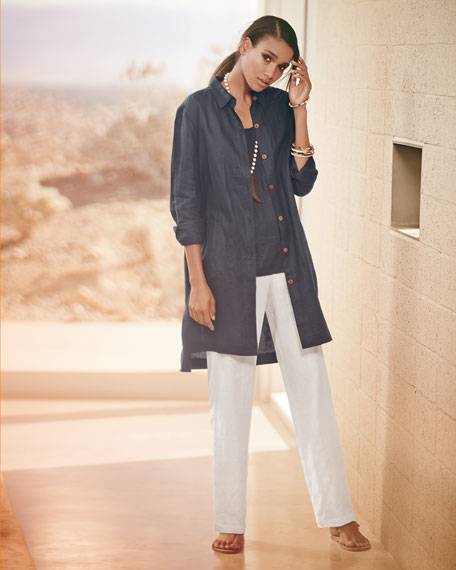 Long-Sleeve Linen Duster Coat, Plus Size