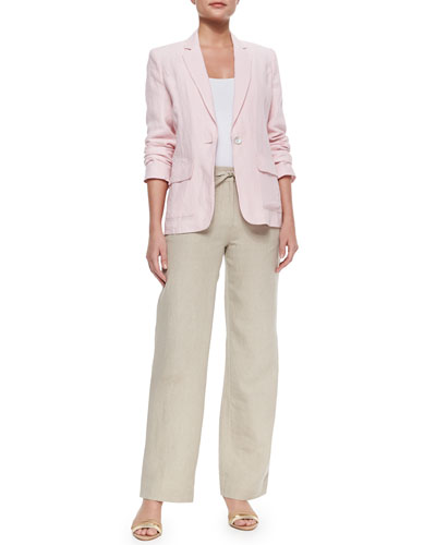 One-Button Linen Blazer & Wide-Leg Linen Pants
