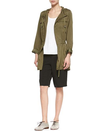 Hooded Anorak Polished Jacket, Slubby Short-Sleeve Scoop-Neck Tee & Twill Long Shorts