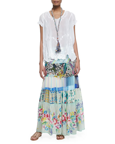 Vintage Rose Georgette Top, Floral-Print Tiered Silk Skirt & Eli Braided Fringe Necklace