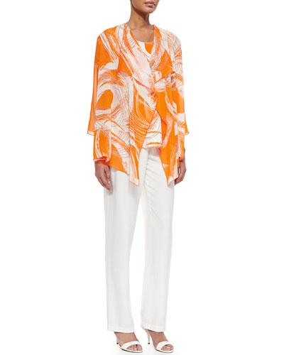 Sunkist Swirl Draped Jacket, Longer Tank & Cabo Knit Straight-Leg Pants, Plus Size