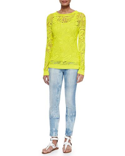 Clancy Floral Crochet Top, Teaser Scoop-Neck Ribbed Tank & 400 Matchstick Distressed Denim Jeans