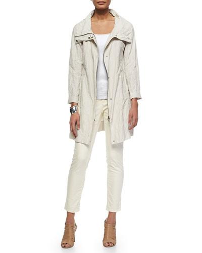 Rumpled Metallic Cotton Jacket, Organic Cotton Slim Tank & Slim Stretch Ankle Jeans