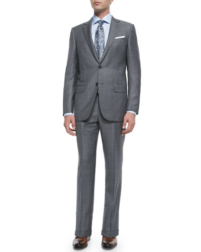 Trofeo Wool Windowpane Suit, Texture-Stripe Tie & Micro Gingham Check Dress Shirt