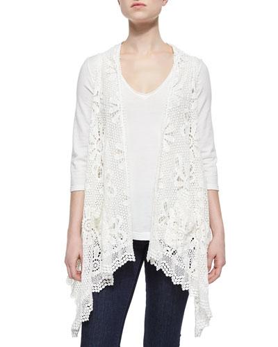 Crochet Sleeveless Vest, 3/4-Sleeve V-Neck Tee & Randi Printed Silk Georgette Square Scarf
