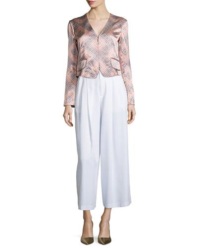 Sunset Print Structured Jacket & Promenade Wide-Leg Pants