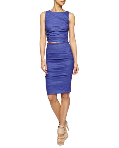 Sleeveless Ruched Crop Top & Ruched Body-Conscious Skirt