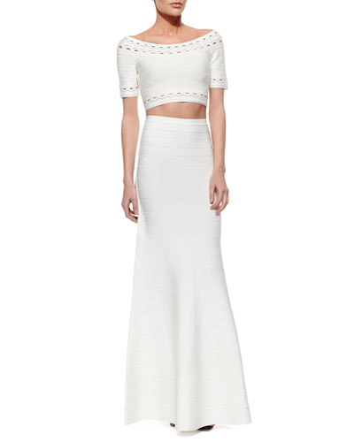 Elsee Scalloped Open-Knit Crop Top & Jayde Signature Bandage Mermaid Skirt