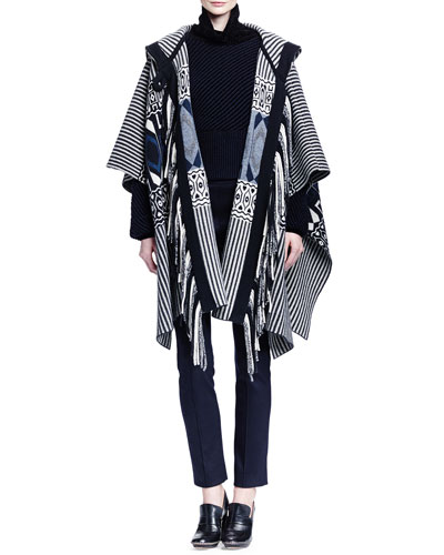 Cashmere Hooded Geometric-Print Fringe Cape, Bicolor Bias Ribbed T-Neck Sweater & Punto Milano Jersey Leggings