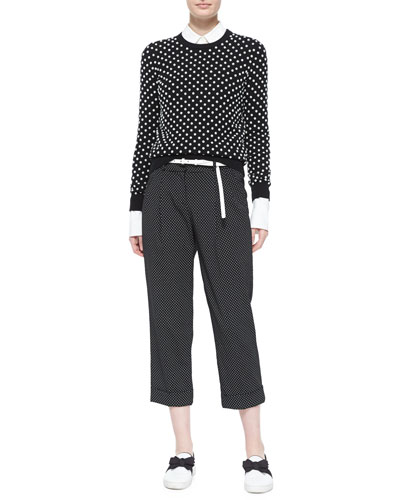 Pearlescent Hand-Embroidered Sweater, French-Cuff Patch-Pocket Blouse & Pindot-Pattern Slouchy Capri Trousers