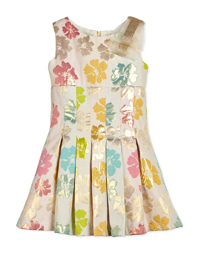 Striped Floral-Jacquard Dress, White/Multicolor