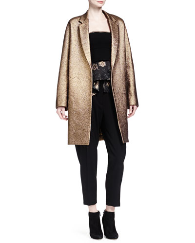 Burnished Metallic Easy Coat, Strapless Floral Jacquard Peplum Bustier Top & Tailored Gabardine Tapered Trouser