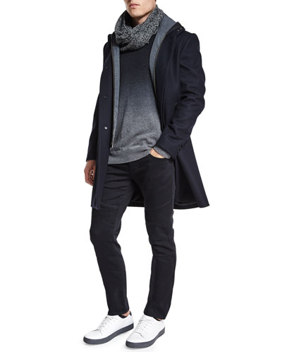 Melton 2-in-1 Wool Jacket, Cashmere-Blend Dip-Dye Crewneck Sweater, Stretch Resin-Coated Moto Jeans & Accessories