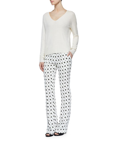 Rhodes Merino Sweater & Joseph Silk Medallion-Print Pants