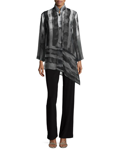 Caroline Rose Shadow-Stripe Angled Blouse, Stretch Knit Long