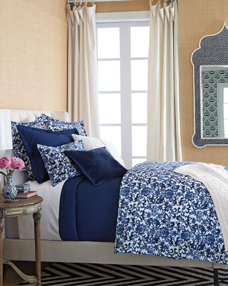 Pretty blue and white bedding