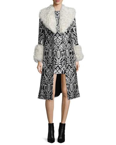 Damask Winona Fur-Trim Trenchcoat & Clyde Sleeveless Shift Dress
