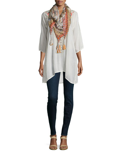 Cynthia 3/4-Sleeve Embroidered Tunic & Retro Feather Silk Tassel Scarf