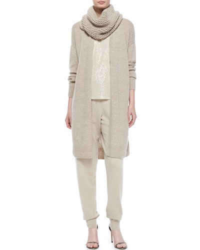 Cashmere-Blend Duster W/ Sequins, Cleo Sleeveless Sequined-Front Blouse, Hand-Knit Tube Scarf & Cashmere Drawstring Track Pants