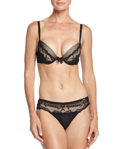 Idole Lace Push-Up Bra & Tanga, Black