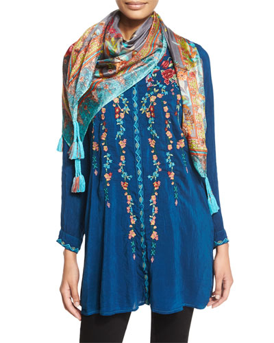 Ivy Embroidered Long-Sleeve Tunic & Hummingbird Square Silk Scarf, Women's