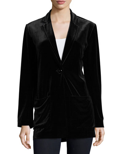 Velvet Button-Front Jacket & Basic Ribbed Tank, Petite