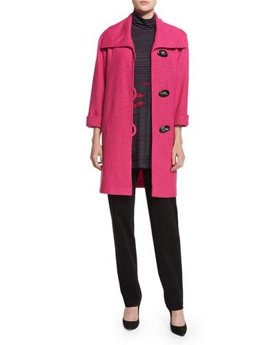 Paris Plush Easy Coat, Printed Jersey Turtleneck Caftan & Ponte Slim Pants, Women's