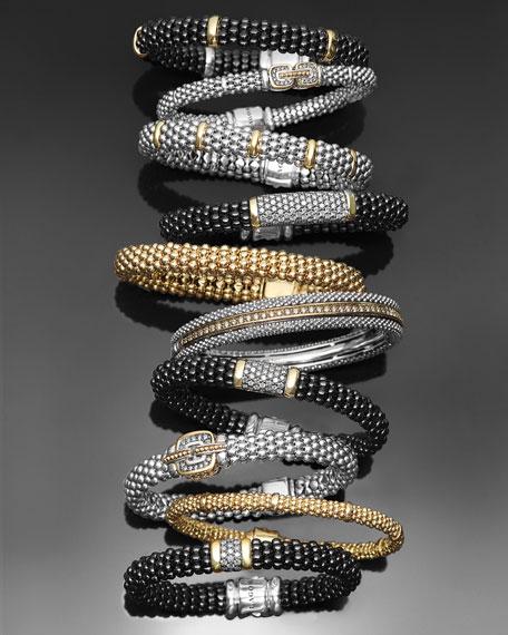 LAGOS Black Caviar Large Diamond Station Bracelet, 9mm