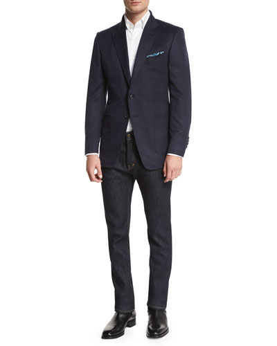 TOM FORD O'Connor Brushed Cashmere Blazer, Tattersall Check