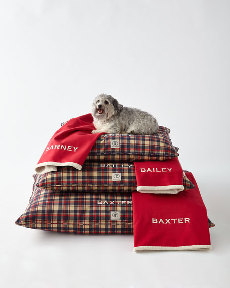 Harry Barker Small Plaid Dog Bed with Personalized