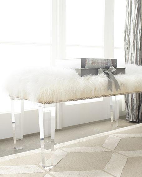 w white legs sheepskin gold steel tov bench stainless zelda furniture