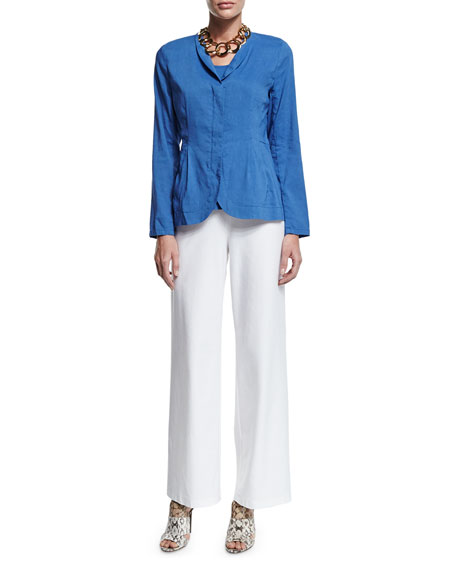 Eileen FisherShawl-Collar Peplum Jacket, Blue