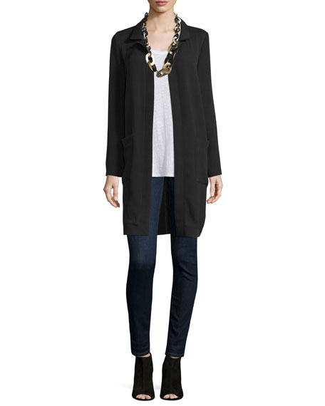Eileen Fisher Long Lightweight Silk Jacket