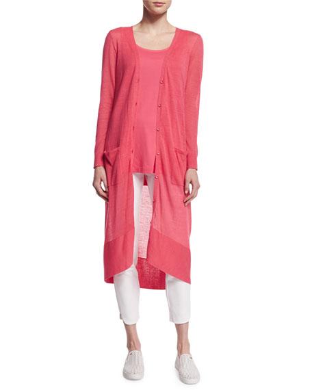 Joan Vass Long Sheer Button-Front Cardigan, Strawberry