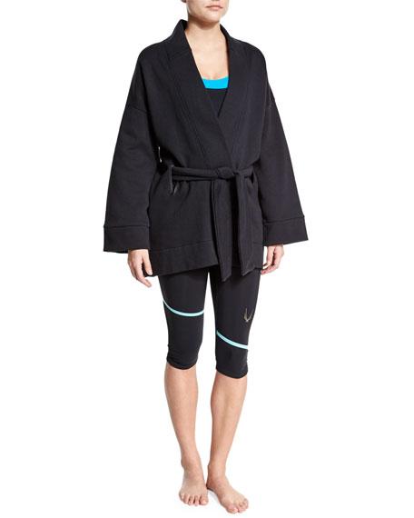 Lucas Hugh Long-Sleeve Belted Kimono Sport Jacket, Black