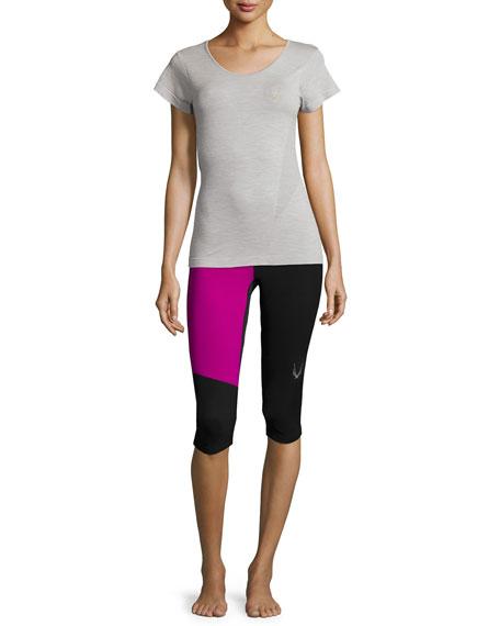 Lucas Hugh Short-Sleeve Round-Neck Sport T-Shirt, Gray Marl