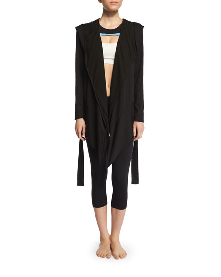 Live the Process Long-Sleeve Blanket Wrap Sweater, Black