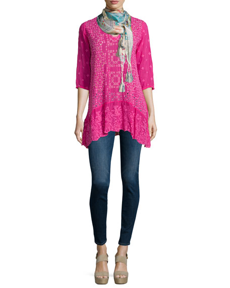 Johnny Was Collection Taffy 3/4-Sleeve Georgette Tunic