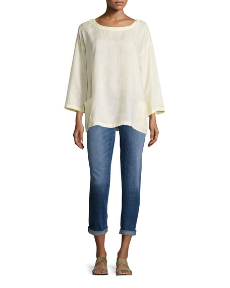 Eileen Fisher Organic Handkerchief Linen Tunic w/ Pockets