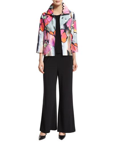 Full Bloom Zip-Front Jacket, Basic Knit Tank & Stretch-Knit Wide-Leg Pants, Women's
