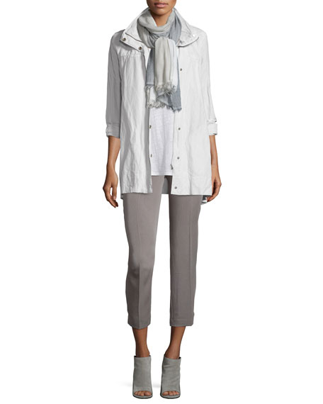 Eileen Fisher Rumpled Hooded Jacket, Bone